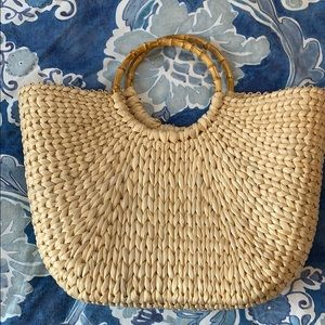 Bamboo handle straw bag charter club